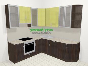 Кухни пластиковые угловые в современном стиле 6,7 м², 210 на 230 см, Желтый Галлион глянец / Дерево Мокка, верхние модули 92 см, встроенный духовой шкаф