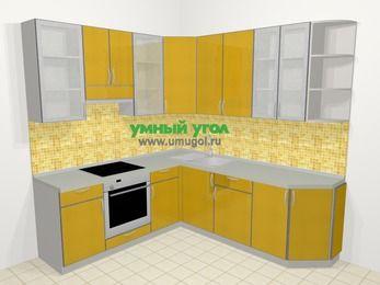 Кухни пластиковые угловые в современном стиле 6,7 м², 210 на 230 см, Желтый глянец, верхние модули 92 см, встроенный духовой шкаф