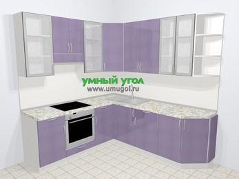 Кухни пластиковые угловые в современном стиле 6,7 м², 210 на 230 см, Сиреневый глянец, верхние модули 92 см, встроенный духовой шкаф