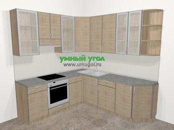 Кухни пластиковые угловые в стиле лофт 6,7 м², 210 на 230 см, Чибли бежевый, верхние модули 92 см, встроенный духовой шкаф