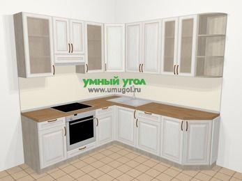 Угловая кухня МДФ патина в классическом стиле 6,7 м², 210 на 230 см, Лиственница белая, верхние модули 92 см, встроенный духовой шкаф