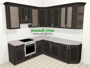 Угловая кухня МДФ патина в классическом стиле 6,7 м², 210 на 230 см, Венге, верхние модули 92 см, встроенный духовой шкаф