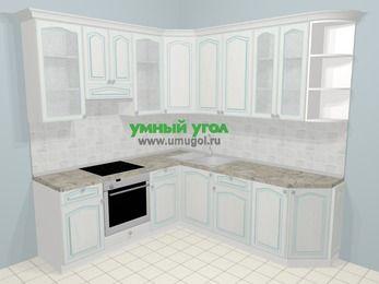Угловая кухня МДФ патина в стиле прованс 6,7 м², 210 на 230 см, Лиственница белая, верхние модули 92 см, встроенный духовой шкаф