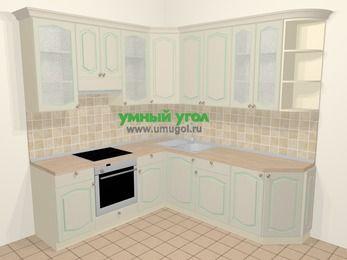 Угловая кухня МДФ патина в стиле прованс 6,7 м², 210 на 230 см, Керамик, верхние модули 92 см, встроенный духовой шкаф