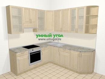 Угловая кухня из массива дерева в классическом стиле 6,7 м², 210 на 230 см, Светло-коричневые оттенки, верхние модули 92 см, встроенный духовой шкаф