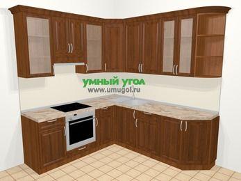 Угловая кухня из массива дерева в классическом стиле 6,7 м², 210 на 230 см, Темно-коричневые оттенки, верхние модули 92 см, встроенный духовой шкаф