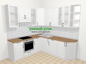 Угловая кухня из массива дерева в скандинавском стиле 6,7 м², 210 на 230 см, Белые оттенки, верхние модули 92 см, встроенный духовой шкаф