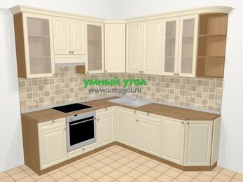 Угловая кухня из массива дерева в стиле кантри 6,7 м², 210 на 230 см, Бежевые оттенки, верхние модули 92 см, встроенный духовой шкаф