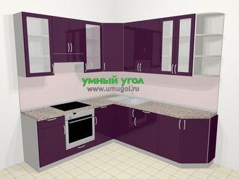 Угловая кухня МДФ глянец в современном стиле 6,7 м², 210 на 230 см, Баклажан, верхние модули 92 см, встроенный духовой шкаф