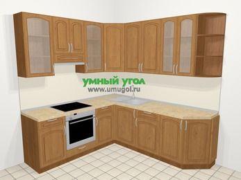Угловая кухня МДФ патина в классическом стиле 6,7 м², 210 на 230 см, Ольха, верхние модули 92 см, встроенный духовой шкаф