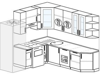 Угловая кухня 6,7 м² (2,1✕2,3 м), верхние модули 92 см, посудомоечная машина, холодильник, отдельно стоящая плита