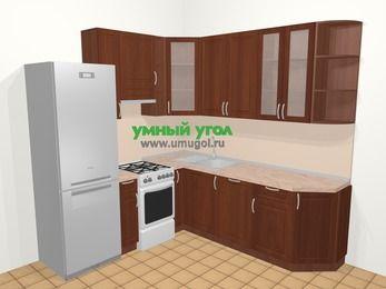 Угловая кухня МДФ матовый в классическом стиле 6,7 м², 210 на 230 см, Вишня темная, верхние модули 92 см, посудомоечная машина, холодильник, отдельно стоящая плита