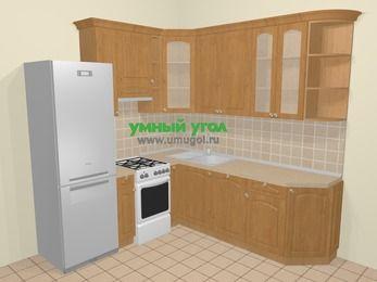 Угловая кухня МДФ матовый в стиле кантри 6,7 м², 210 на 230 см, Ольха, верхние модули 92 см, посудомоечная машина, холодильник, отдельно стоящая плита