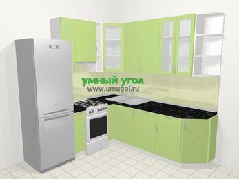 Угловая кухня МДФ металлик в современном стиле 6,7 м², 210 на 230 см, Салатовый металлик, верхние модули 92 см, посудомоечная машина, холодильник, отдельно стоящая плита