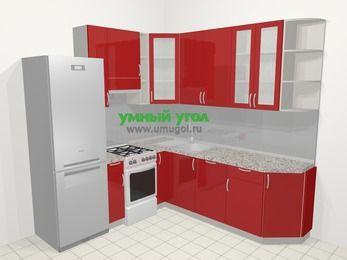 Угловая кухня МДФ глянец в современном стиле 6,7 м², 210 на 230 см, Красный, верхние модули 92 см, посудомоечная машина, холодильник, отдельно стоящая плита