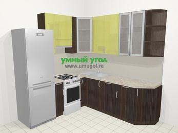 Кухни пластиковые угловые в современном стиле 6,7 м², 210 на 230 см, Желтый Галлион глянец / Дерево Мокка, верхние модули 92 см, посудомоечная машина, холодильник, отдельно стоящая плита