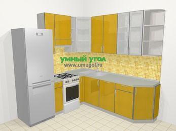 Кухни пластиковые угловые в современном стиле 6,7 м², 210 на 230 см, Желтый глянец, верхние модули 92 см, посудомоечная машина, холодильник, отдельно стоящая плита
