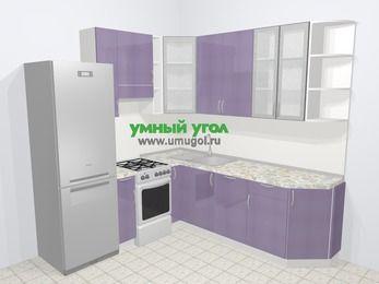 Кухни пластиковые угловые в современном стиле 6,7 м², 210 на 230 см, Сиреневый глянец, верхние модули 92 см, посудомоечная машина, холодильник, отдельно стоящая плита
