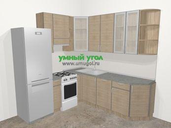Кухни пластиковые угловые в стиле лофт 6,7 м², 210 на 230 см, Чибли бежевый, верхние модули 92 см, посудомоечная машина, холодильник, отдельно стоящая плита