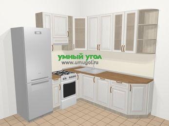 Угловая кухня МДФ патина в классическом стиле 6,7 м², 210 на 230 см, Лиственница белая, верхние модули 92 см, посудомоечная машина, холодильник, отдельно стоящая плита