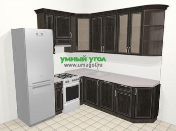 Угловая кухня МДФ патина в классическом стиле 6,7 м², 210 на 230 см, Венге, верхние модули 92 см, посудомоечная машина, холодильник, отдельно стоящая плита