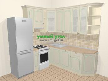 Угловая кухня МДФ патина в стиле прованс 6,7 м², 210 на 230 см, Керамик, верхние модули 92 см, посудомоечная машина, холодильник, отдельно стоящая плита