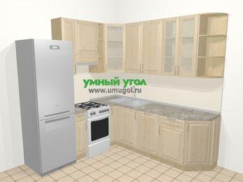 Угловая кухня из массива дерева в классическом стиле 6,7 м², 210 на 230 см, Светло-коричневые оттенки, верхние модули 92 см, посудомоечная машина, холодильник, отдельно стоящая плита