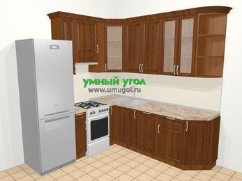 Угловая кухня из массива дерева в классическом стиле 6,7 м², 210 на 230 см, Темно-коричневые оттенки, верхние модули 92 см, посудомоечная машина, холодильник, отдельно стоящая плита