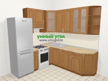 Угловая кухня МДФ патина в классическом стиле 6,7 м², 210 на 230 см, Ольха, верхние модули 92 см, посудомоечная машина, холодильник, отдельно стоящая плита