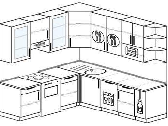 Угловая кухня 6,7 м² (2,1✕2,3 м), верхние модули 92 см, посудомоечная машина, модуль под свч, отдельно стоящая плита