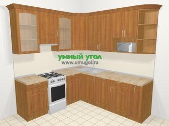 Угловая кухня МДФ матовый в классическом стиле 6,7 м², 210 на 230 см, Вишня, верхние модули 92 см, посудомоечная машина, модуль под свч, отдельно стоящая плита