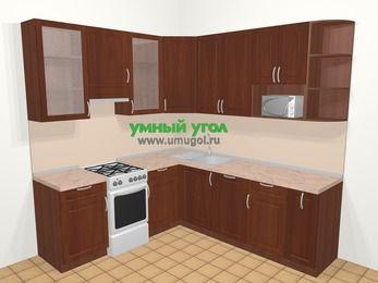 Угловая кухня МДФ матовый в классическом стиле 6,7 м², 210 на 230 см, Вишня темная, верхние модули 92 см, посудомоечная машина, модуль под свч, отдельно стоящая плита