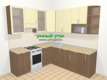 Угловая кухня МДФ матовый в современном стиле 6,7 м², 210 на 230 см, Ваниль / Лиственница бронзовая, верхние модули 92 см, посудомоечная машина, модуль под свч, отдельно стоящая плита