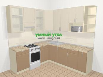 Угловая кухня МДФ матовый в современном стиле 6,7 м², 210 на 230 см, Керамик / Кофе, верхние модули 92 см, посудомоечная машина, модуль под свч, отдельно стоящая плита