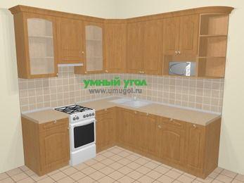 Угловая кухня МДФ матовый в стиле кантри 6,7 м², 210 на 230 см, Ольха, верхние модули 92 см, посудомоечная машина, модуль под свч, отдельно стоящая плита