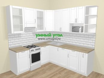 Угловая кухня МДФ матовый  в скандинавском стиле 6,7 м², 210 на 230 см, Белый, верхние модули 92 см, посудомоечная машина, модуль под свч, отдельно стоящая плита