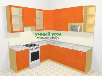 Угловая кухня МДФ металлик в современном стиле 6,7 м², 210 на 230 см, Оранжевый металлик, верхние модули 92 см, посудомоечная машина, модуль под свч, отдельно стоящая плита