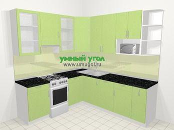 Угловая кухня МДФ металлик в современном стиле 6,7 м², 210 на 230 см, Салатовый металлик, верхние модули 92 см, посудомоечная машина, модуль под свч, отдельно стоящая плита