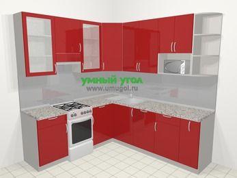 Угловая кухня МДФ глянец в современном стиле 6,7 м², 210 на 230 см, Красный, верхние модули 92 см, посудомоечная машина, модуль под свч, отдельно стоящая плита