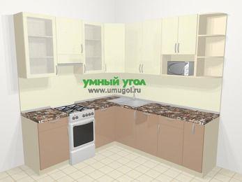 Угловая кухня МДФ глянец в современном стиле 6,7 м², 210 на 230 см, Жасмин / Капучино, верхние модули 92 см, посудомоечная машина, модуль под свч, отдельно стоящая плита