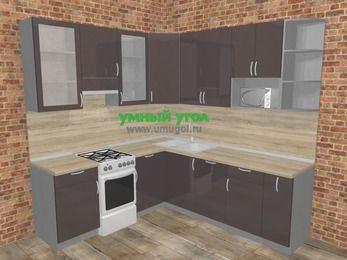 Угловая кухня МДФ глянец в стиле лофт 6,7 м², 210 на 230 см, Шоколад, верхние модули 92 см, посудомоечная машина, модуль под свч, отдельно стоящая плита