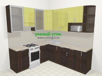 Кухни пластиковые угловые в современном стиле 6,7 м², 210 на 230 см, Желтый Галлион глянец / Дерево Мокка, верхние модули 92 см, посудомоечная машина, модуль под свч, отдельно стоящая плита