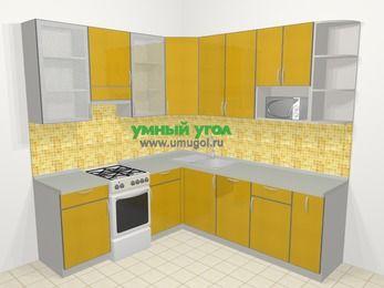 Кухни пластиковые угловые в современном стиле 6,7 м², 210 на 230 см, Желтый глянец, верхние модули 92 см, посудомоечная машина, модуль под свч, отдельно стоящая плита