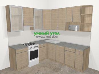 Кухни пластиковые угловые в стиле лофт 6,7 м², 210 на 230 см, Чибли бежевый, верхние модули 92 см, посудомоечная машина, модуль под свч, отдельно стоящая плита