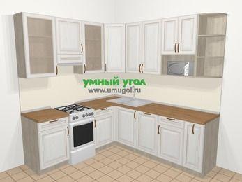 Угловая кухня МДФ патина в классическом стиле 6,7 м², 210 на 230 см, Лиственница белая, верхние модули 92 см, посудомоечная машина, модуль под свч, отдельно стоящая плита