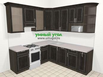 Угловая кухня МДФ патина в классическом стиле 6,7 м², 210 на 230 см, Венге, верхние модули 92 см, посудомоечная машина, модуль под свч, отдельно стоящая плита