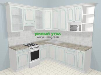 Угловая кухня МДФ патина в стиле прованс 6,7 м², 210 на 230 см, Лиственница белая, верхние модули 92 см, посудомоечная машина, модуль под свч, отдельно стоящая плита