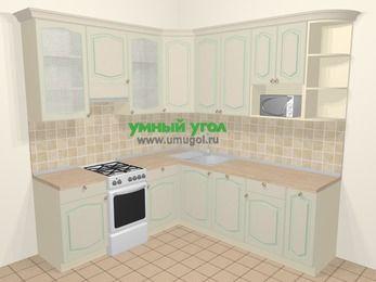 Угловая кухня МДФ патина в стиле прованс 6,7 м², 210 на 230 см, Керамик, верхние модули 92 см, посудомоечная машина, модуль под свч, отдельно стоящая плита
