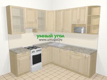 Угловая кухня из массива дерева в классическом стиле 6,7 м², 210 на 230 см, Светло-коричневые оттенки, верхние модули 92 см, посудомоечная машина, модуль под свч, отдельно стоящая плита