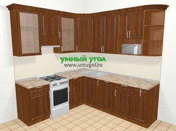 Угловая кухня из массива дерева в классическом стиле 6,7 м², 210 на 230 см, Темно-коричневые оттенки, верхние модули 92 см, посудомоечная машина, модуль под свч, отдельно стоящая плита